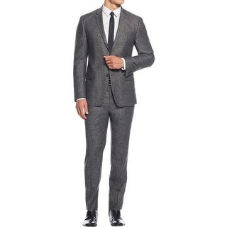 DKNY Mens Two-Button Suit Herringbone Wool