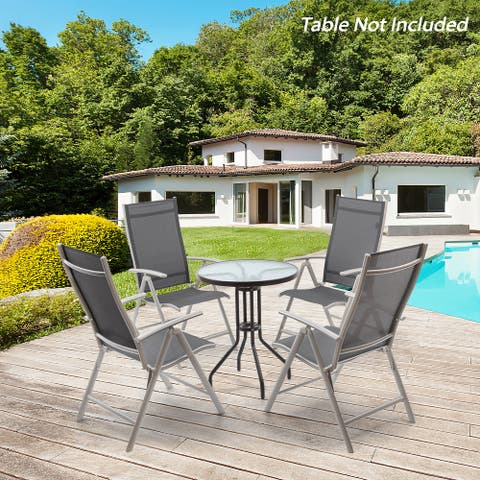 Pellebant 4 Piece Folding Outdoor Patio Dining Chairs - N/A