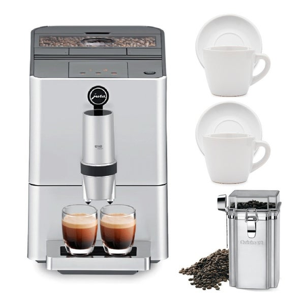 Jura ENA Micro 5 Coffee Machine (Silver) w/ Cups Bundle (Refurbished)