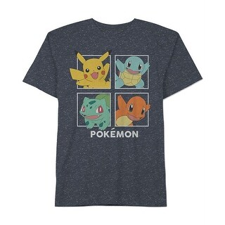 Pokemon NEW Blue Mens Size Large L Speckled Pokemon Graphic Tee T-Shirt