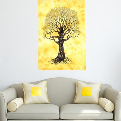 Life of Tree Printed Cotton Wall Hanging Tapestry Poster Decor Bedspread For Dorm