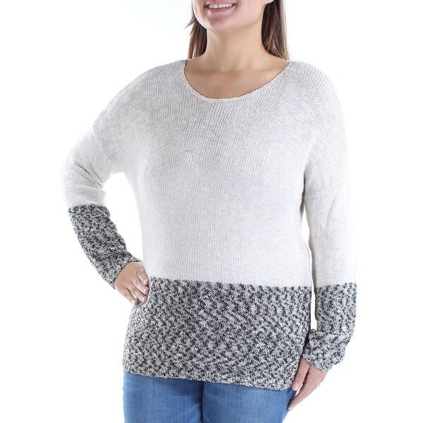 Womens Beige Long Sleeve Jewel Neck Casual Sweater Size 2X
