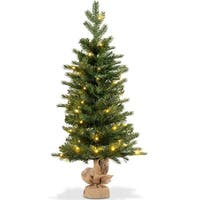Costway 3Ft Pre-Lit Spruce Tabletop Christmas Tree Battery Operated w/Lights & Timer - green