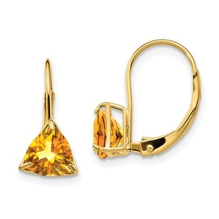 Link to 14 Karat Yellow Gold 6mm Trillion Citrine Leverback Earrings By Versil Similar Items in Earrings