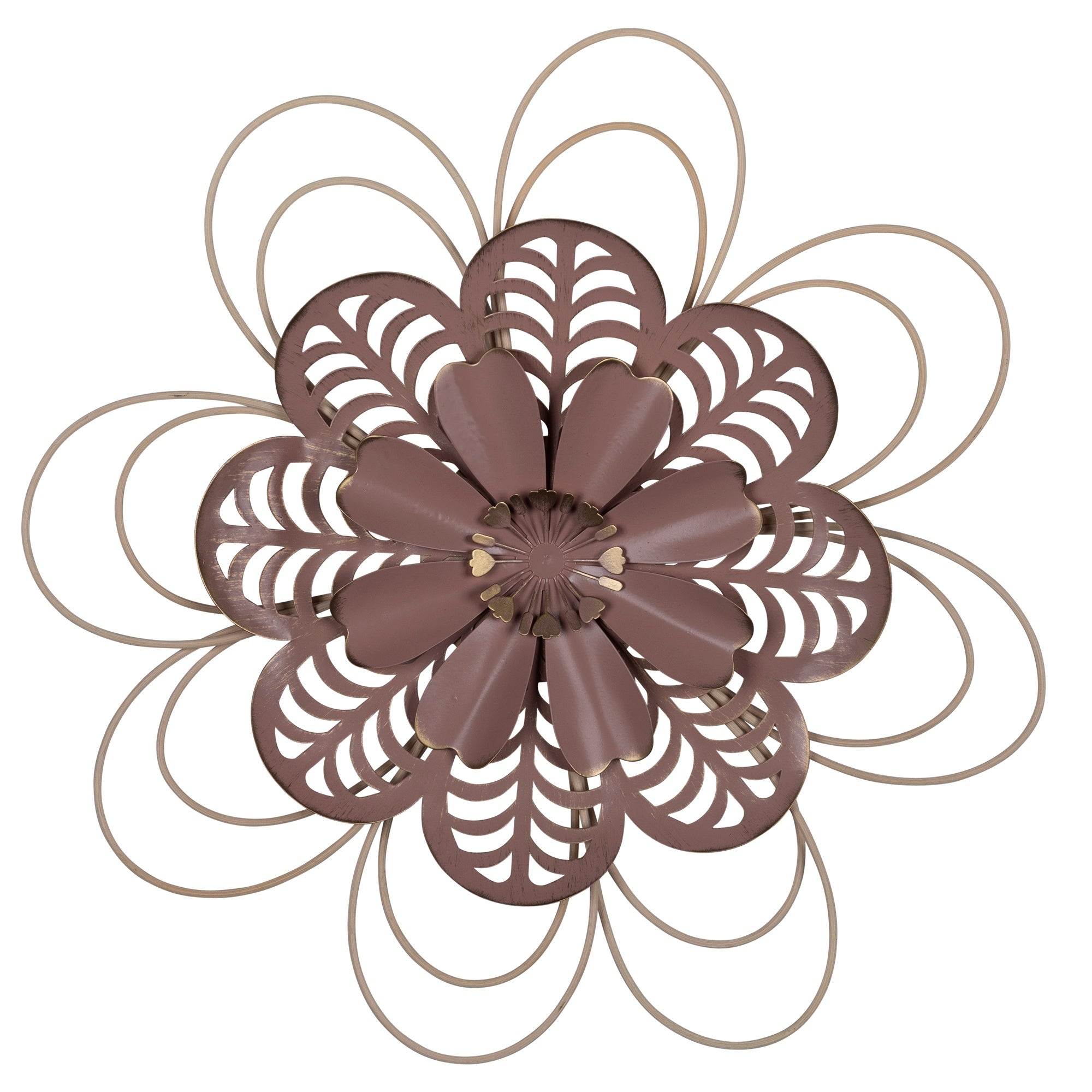 Stratton Home Decor Delicate Pink Metal And Wood Flower Wall Decor On Sale Overstock 32548502