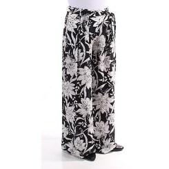 MAXMARA $425 Womens New 6361 Black White Floral Tie Wide Leg Casual Pants M B+B