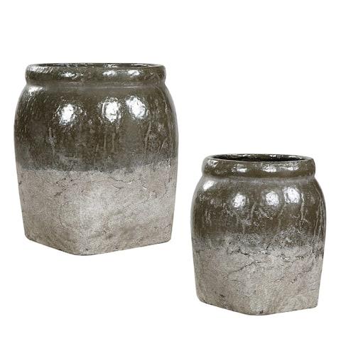 "Set of 2 Gray and Green Ceramic Bowls 9"""