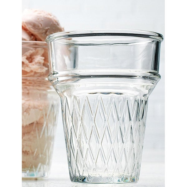 Palais Glassware Clear Glass 10 Ounce Dessert Ice Cream Bowls (Set of 4 Cone Shaped)
