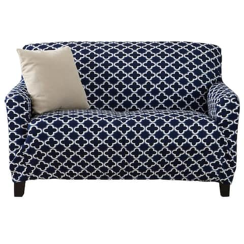 Great Bay Home Printed Twill Stretch Love Seat Slipcover - Love Seat