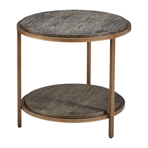 Lenox Hill 24-inch Diameter Retro Side Table in Alder & Brushed Metal