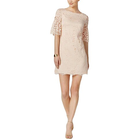 Vince Camuto Womens Party Dress Lace Overlay Bell Sleeves