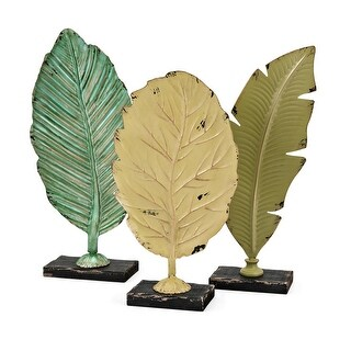 """Set of 3 Soothing Colored Distressed Finish Cora Leaf Statuaries 18.25"""""""