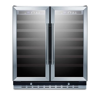 Summit SWC3066B 30 Inch Wide 66 Bottle Capacity Built-In Wine Cooler with Door L - glass / black - N/A