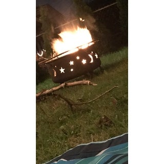 Sunnydaze Cosmic Fire Pit with Cooking Grill, Size Options Available - Black