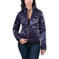 Aureka Prugna Purple Padded Women's Cropped Jacket