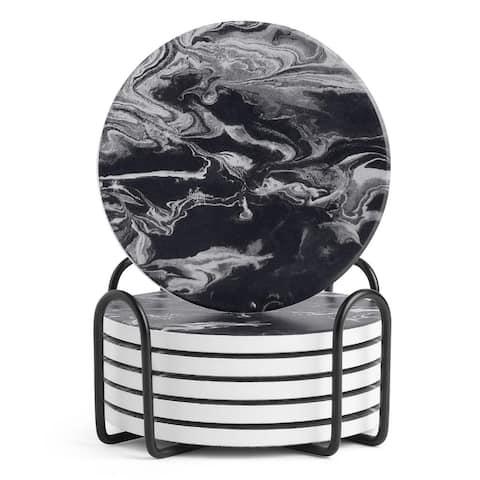 LIFVER Ceramic Coaster Set with Holder