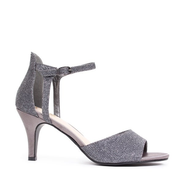Metallic Open Toe Ankle Strap Pump