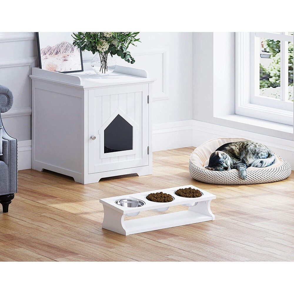 Great Elevated Pet Feeder! w3 One Qt Stainless Bowls Raised 8 High FREE SHIPPING on This 3 DISH Custom Hand Crafted Dog Feeding Stand