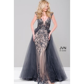 Beaded Tulle Cap Sleeve Gown