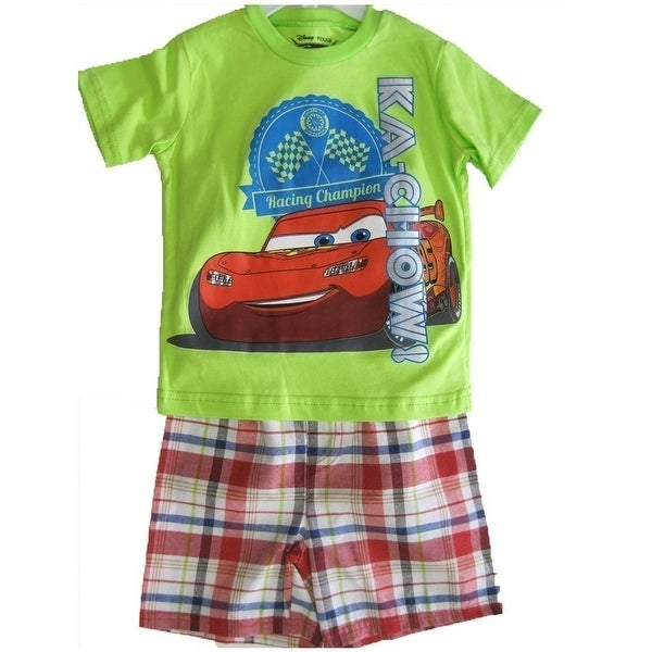 c78c9a8e5 Shop Disney Little Boys Lime Green Red Lightning McQueen Plaid 2 Pc Shorts  Set 2T-4T - Free Shipping On Orders Over $45 - Overstock.com - 18176929
