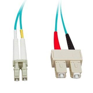 Offex 10 Gigabit Aqua Fiber Optic Cable, LC / SC, Multimode, Duplex, 50/125, 15 meter (49.2 foot)