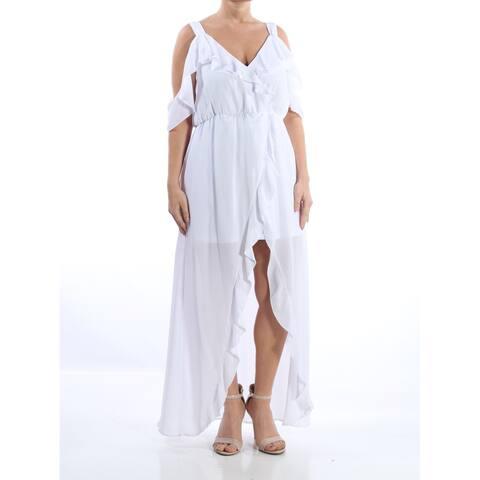 13c9179dd81f XOXO Womens White Ruffled Cold Shoulder Short Sleeve V Neck Maxi Hi-Lo  Party Dress