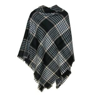 CTM® Women's 55x55 Gingham Plaid Blanket Scarf - Black - One Size