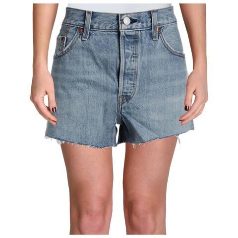 Levi's Womens 501 Denim Shorts Light Wash Frayed Hem - 31