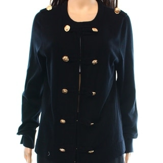 INC NEW Black Gold Women's Size Large L Button-Front Military Jacket