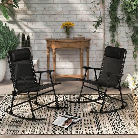 Corvus Patio Folding Zero Gravity Rocking Lounge Chair with Headrest
