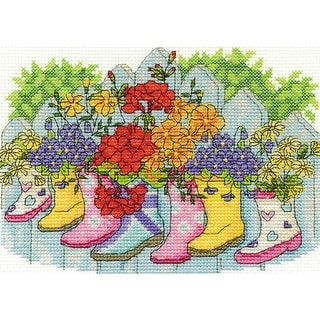 """Blossoming Wellies Counted Cross Stitch Kit-7""""X5"""" 14 Count"""