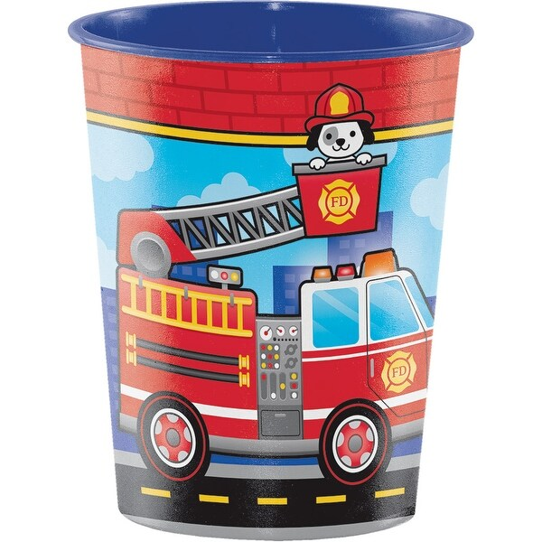 Club Pack of 12 Blue and Red Flaming Fire Truck Plastic Keepsafe Cup 4 5