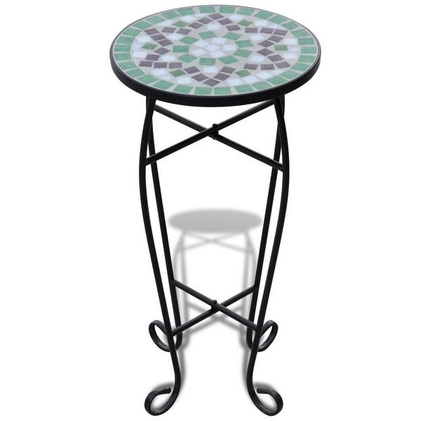 vidaXL Mosaic Side Table Plant Table Green White