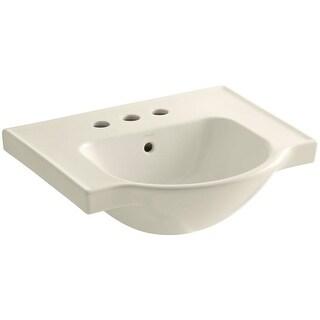 "Kohler K-5247-4 Veer 21"" Pedestal Bathroom Sink with Three Holes Drilled and Overflow"