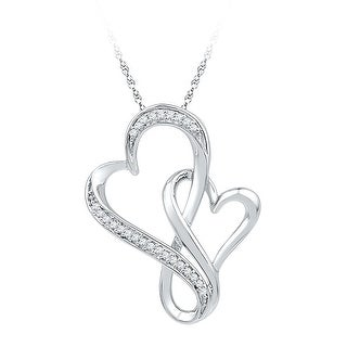 Twin Heart Pendant 10K White-gold With Diamonds 0.125 Ctw By MidwestJewellery - White