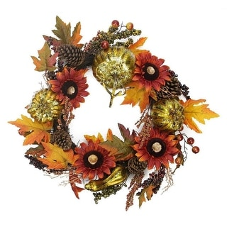 "24"" Gold Pumpkin and Red Sunflower Autumn Harvest Artificial Thanksgiving Wreath - Unlit"