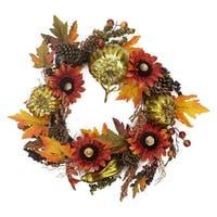 "24"" Gold Pumpkin and Red Sunflower Autumn Harvest Artificial Thanksgiving Wreath - Unlit - Multi"