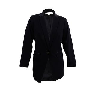 Calvin Klein Women's Plus Size Single-Button Satin-Trim Blazer - Black
