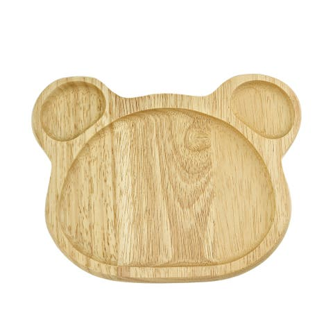 Handmade Adorable Bear-Shaped Native Natural Wood Sectional Plate (Thailand)