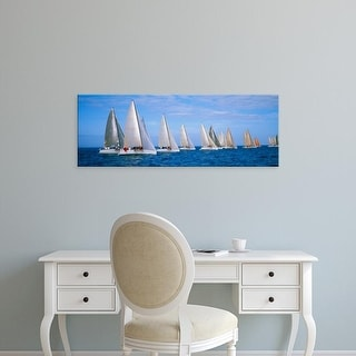 Easy Art Prints Panoramic Images's 'Yachts in the ocean, Key West, Florida, USA' Premium Canvas Art