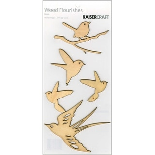Wood Flourishes 5/Pkg-Birds