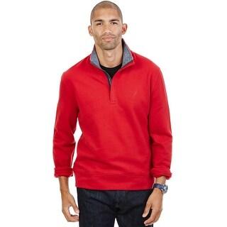 Nautica Quarter Zip Mock Neck Fleece Sweatshirt Ribbon Red XX-Large