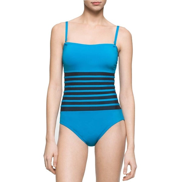 32394191c4a5d Shop Calvin Klein Womens Mesh Inset Bandeau One-Piece Swimsuit 10 Cyan Blue  - Free Shipping Today - Overstock.com - 20896846