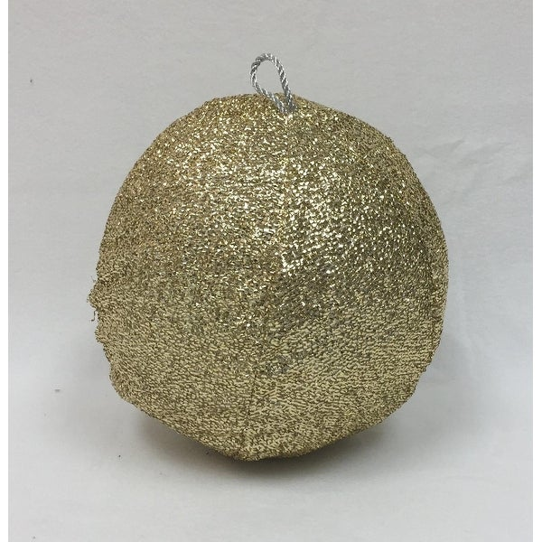 "12"" Sparkly Light Gold Inflatable Tinsel Ball Commercial Christmas Ornament"