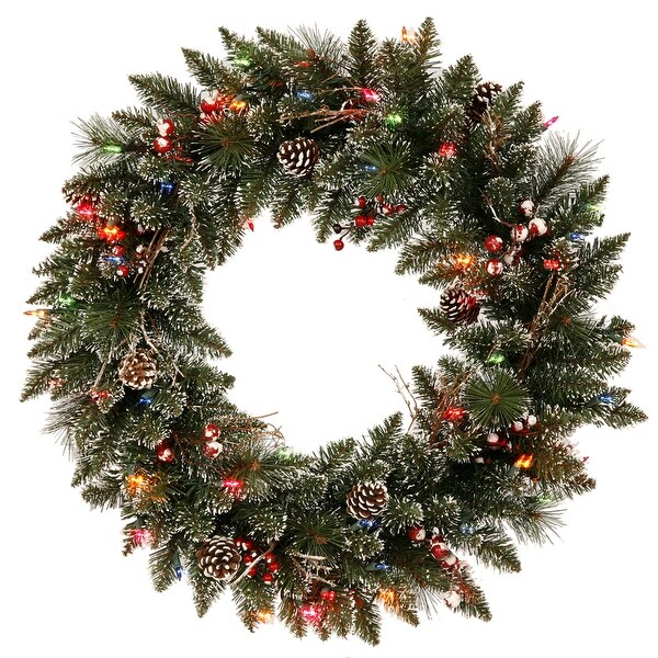 "30"" Snow Tip /Berry Wreath LED 50MU"
