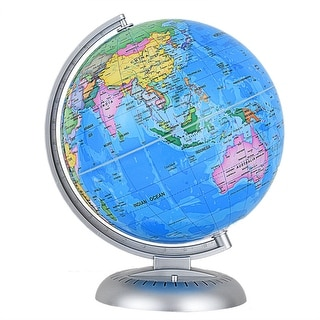 Costway 8'' Illuminated World Globe Up-to-date W/ Stand Built-in LED Night View Kids - as pic
