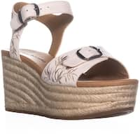 Lucky Brand Naveah2 Embroidered Wedge Sandals, Sandshell - 8 us / 38 eu