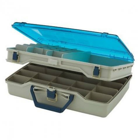 PlanoA 1155 Two-Tier Satchel Tackle Box with Clear DuraViewA¢ Lid, Beige/Blue