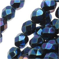 Czech Fire Polished Glass Beads 6mm Round Blue Iris (25)
