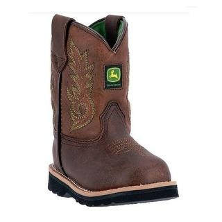 John Deere Western Boots Boys Kids Round Toe Steel Shank Brown JD2034